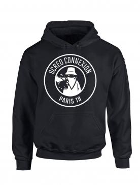 "Sweat Capuche ""Classico 18"" Noir logo Blanc"