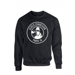 "Sweat Col Rond ""Classico 18"" Noir Logo Blanc"