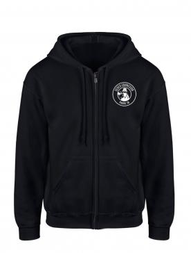"""Sweat Capuche Zippé """"Classico 18"""" Noir logo Blanc"""