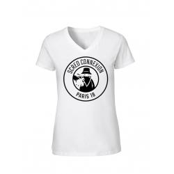 "Tee shirt Blanc femme ""classico18"" logo Noir"