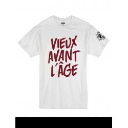 """Tee Shirt """"Vieux Avant l'Âge"""" blanc logo Bordeaux"""