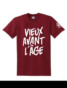"""Tee Shirt """"Vieux Avant l'Âge"""" Burgundy logo Blanc"""