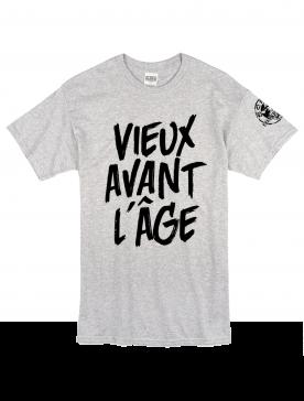 """Tee Shirt """"Vieux Avant l'Âge"""" gris logo Noir"""