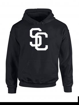 "Sweat Capuche ""SC"" Noir logo Blanc"