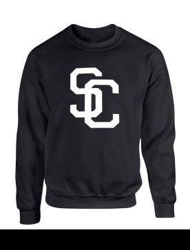 """Sweat Col Rond """"SC"""" Noir Logo Blanc"""