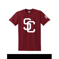 """Tee Shirt """"SC"""" Burgundy logo Blanc"""