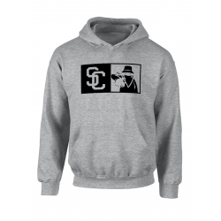 "Sweat Capuche ""New SC"" Gris logo Noir"