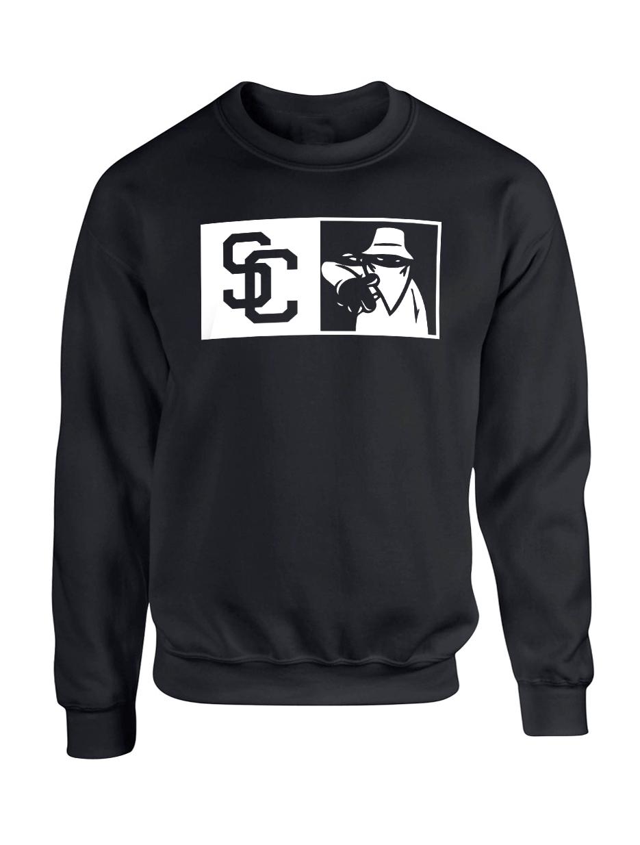 "Sweat Col Rond ""New SC"" Noir Logo Blanc"