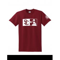 "Tee Shirt ""New SC Burgundy logo Blanc"
