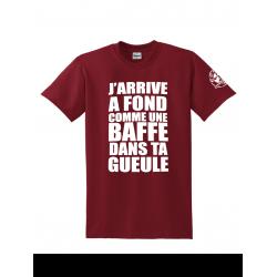"""Tee Shirt """"Jarrive"""" Burgundy logo Blanc"""