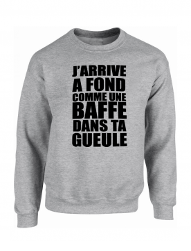 "Sweat ""Jarrive"" Gris logo Noir"