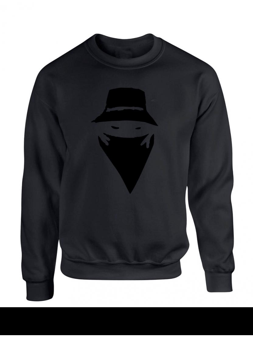 "Sweat Col Rond Logo Daim ""Visage"" Noir"
