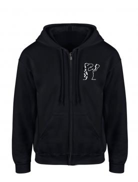 """Sweat Capuche Zippé """"Scred linea"""" Noir logo Blanc"""