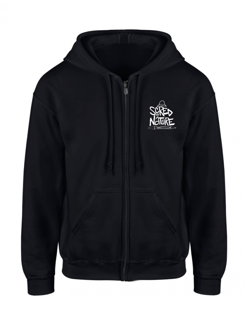 "Sweat Capuche Zippé ""Scred by Nature"" Noir logo Blanc"