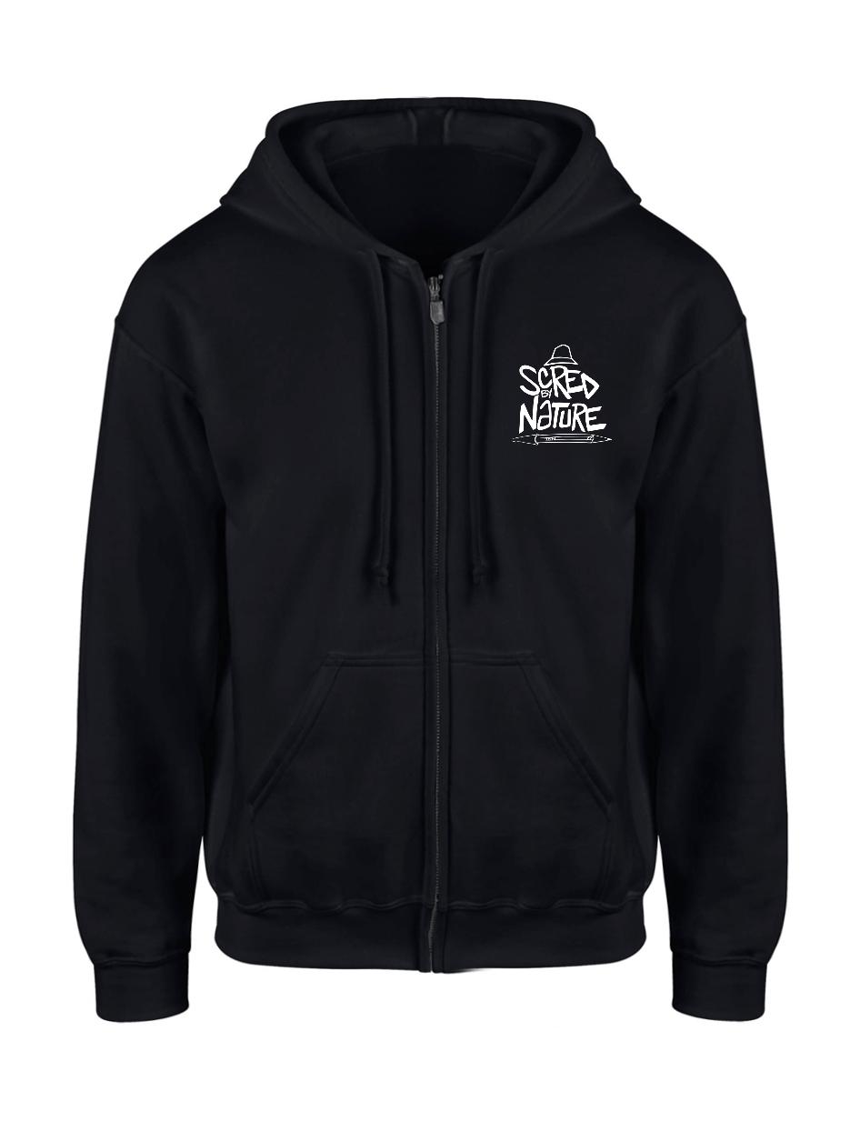 """Sweat Capuche Zippé """"Scred by Nature"""" Noir logo Blanc"""