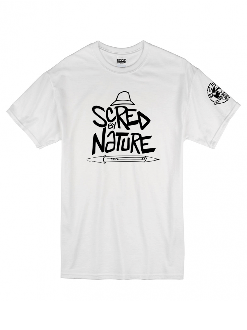 """Tee Shirt """"Scred by Nature"""" blanc"""