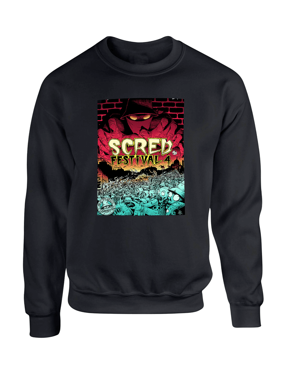 """Sweat Col Rond """"Scred festival 4"""" Noir"""