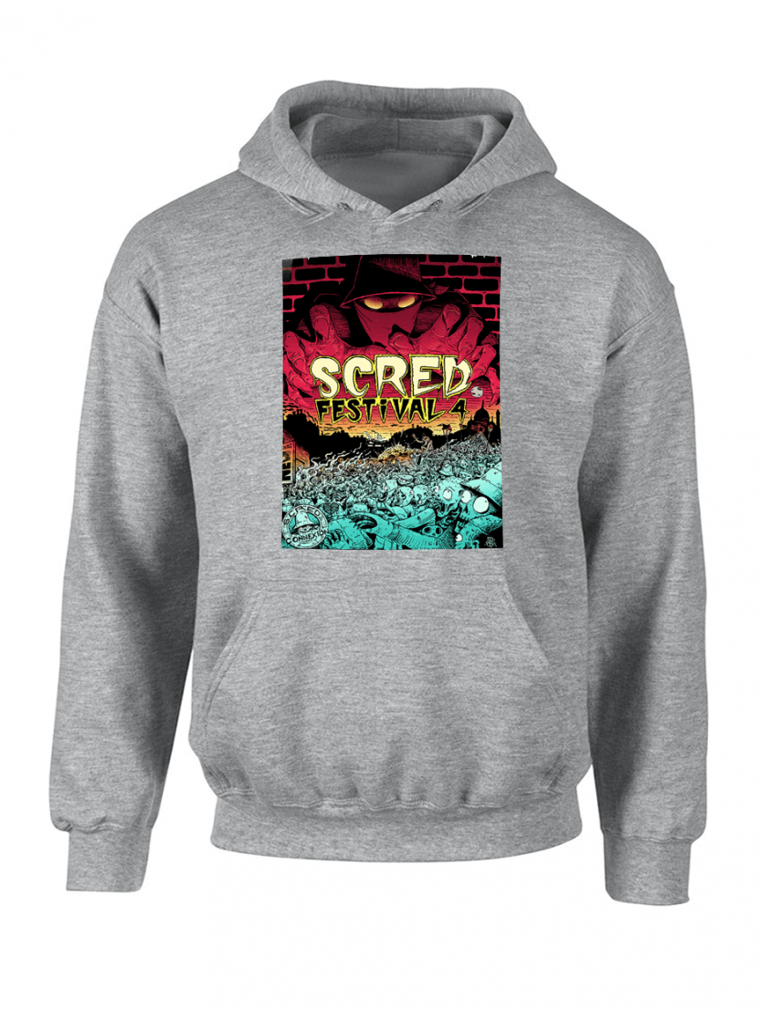"Sweat Capuche ""Scred festival 4"" Gris"