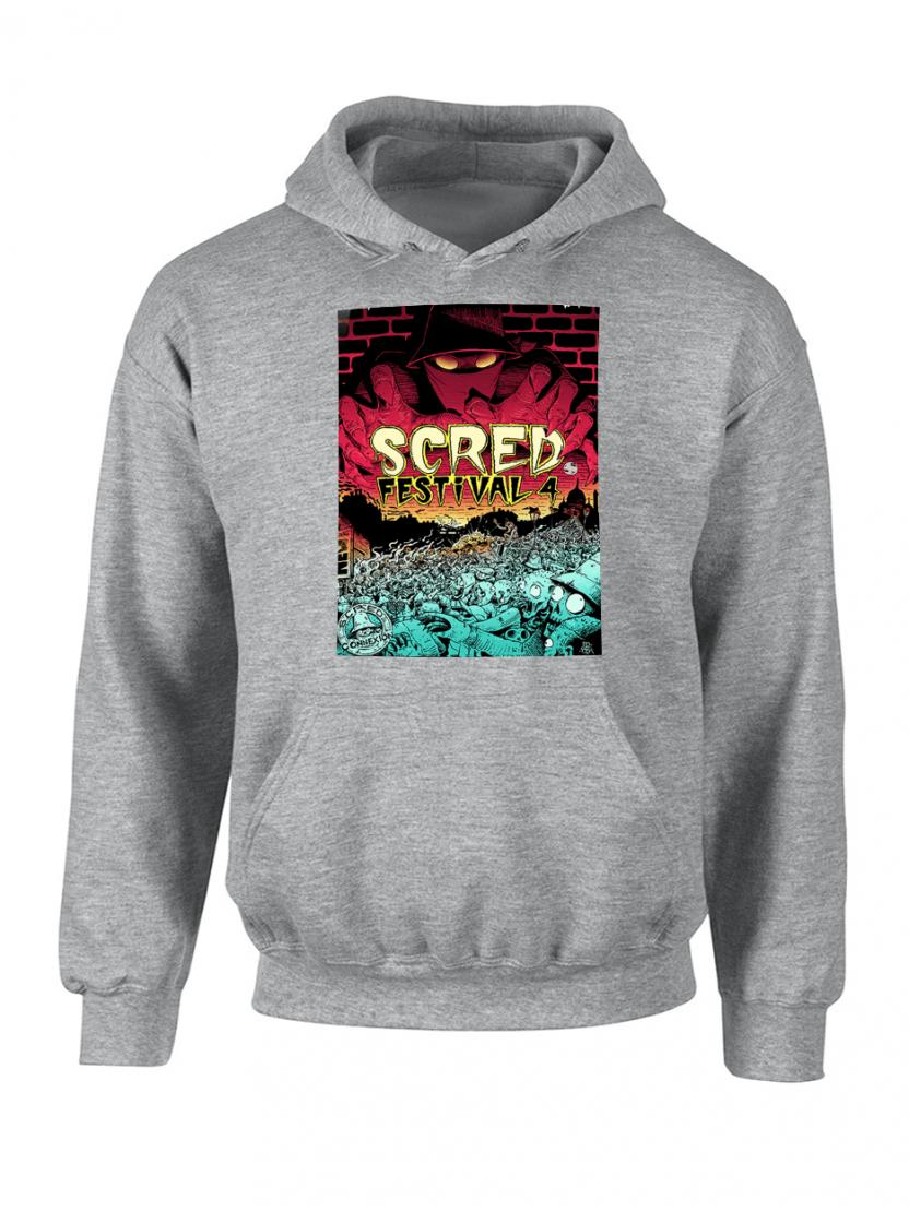 "Sweat Capuche ""Scred festival 4"" Gris"
