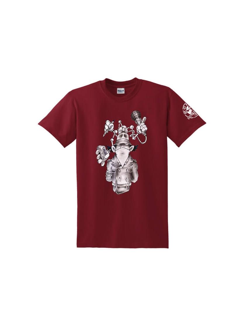 """tee-shirt """"Inspecteur Gadget"""" burgundy"""
