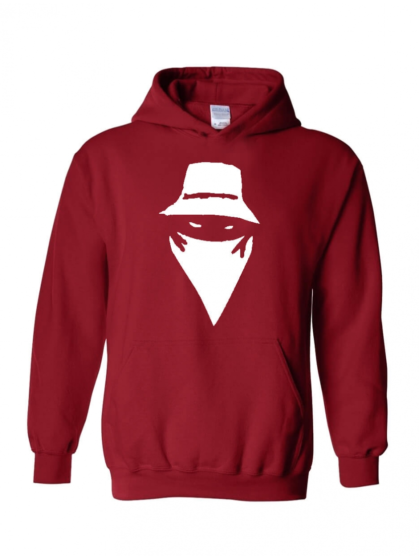 "sweat capuche ""visage "" bordeaux"