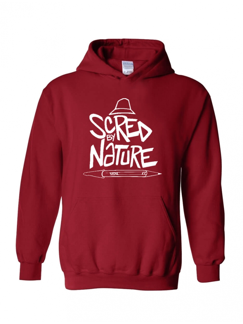 "Sweat Capuche ""Scred by Nature"" bordeaux"