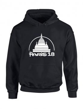 Sweat Capuche Paris 18 Noir