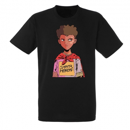 "tee-shirt demi portion ""Super heros "" noir"