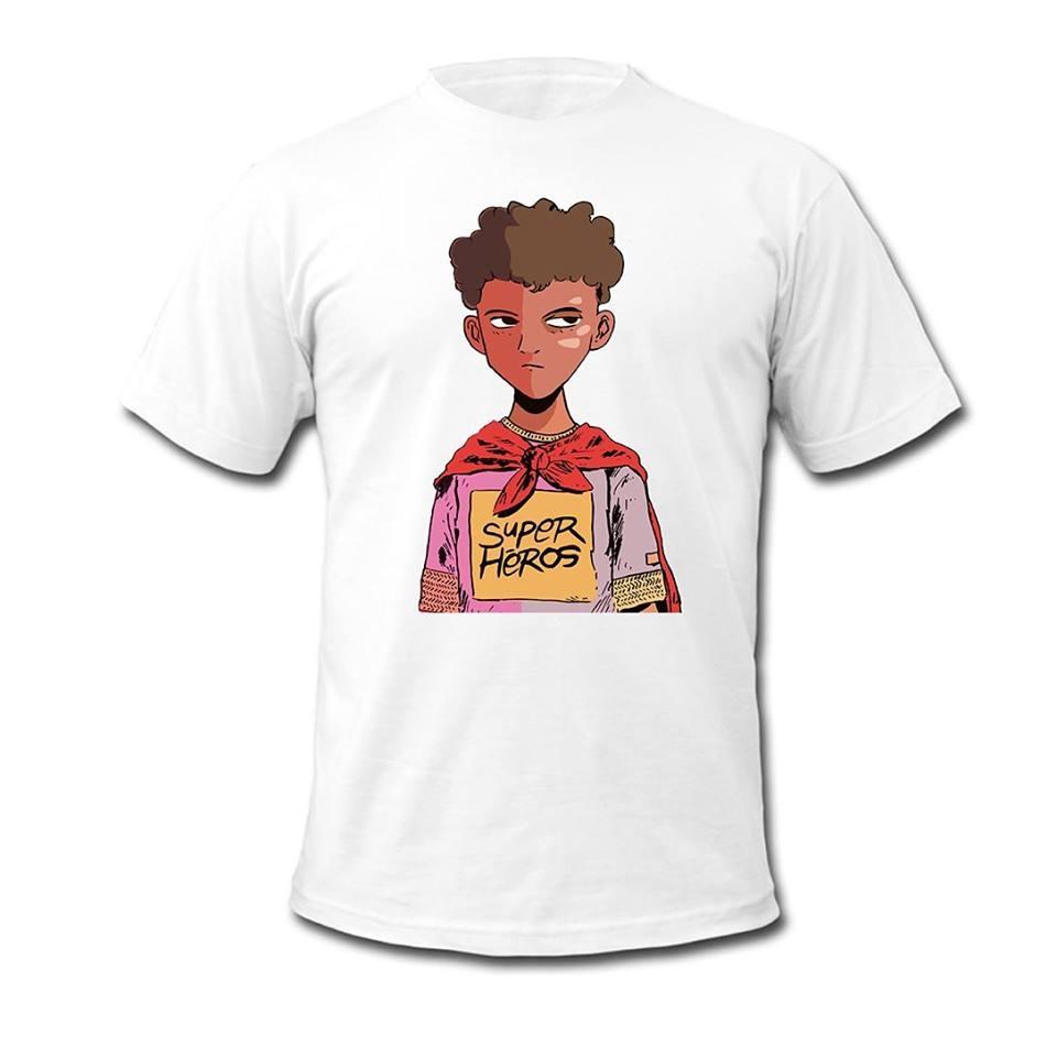 "tee-shirt demi portion ""Super heros "" Blanc"
