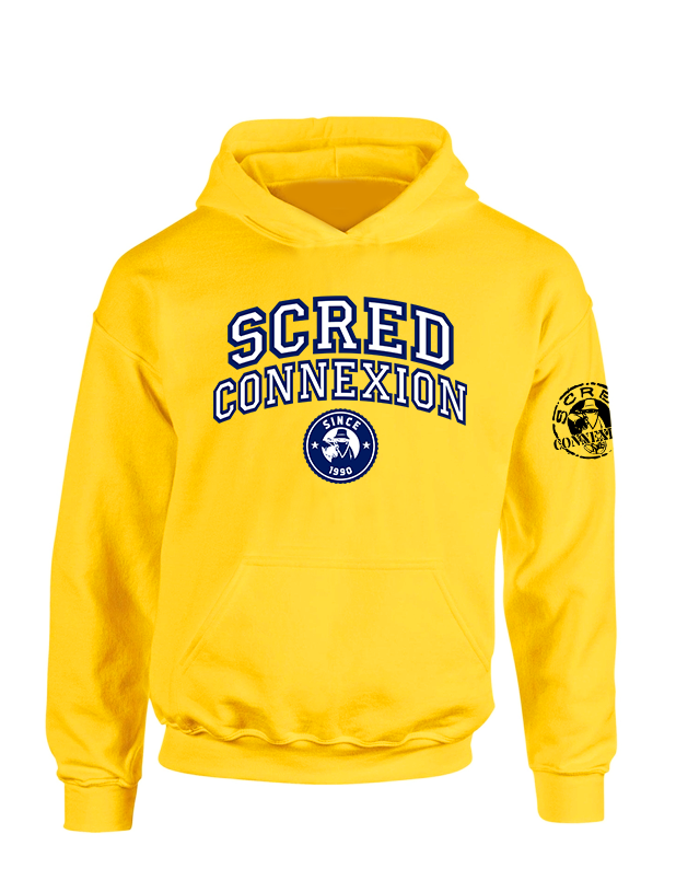 Sweat Capuche Scred University Jaune