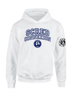 Sweat Capuche Scred University Blanc