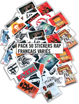 Pack 50 Stickers Rap Francais Variés
